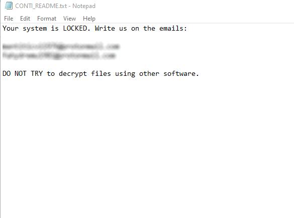 Conti Ransomware Removal